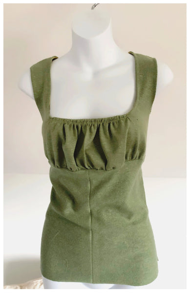 Hemp + Organic Cotton Gather Olive Tank Top