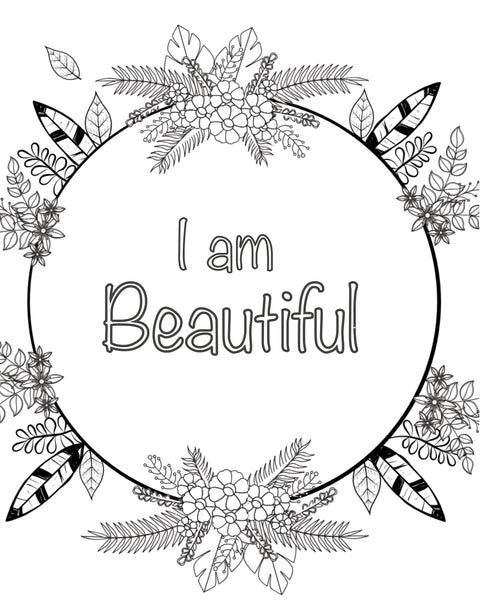 FREE Coloring Page - I am Beautiful