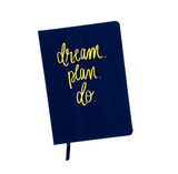 Dream Plan Do Navy and Rose Gold Fabric Journal