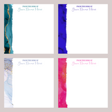 Jewel Tone Marble Note Paper in Personalized Acrylic Tray