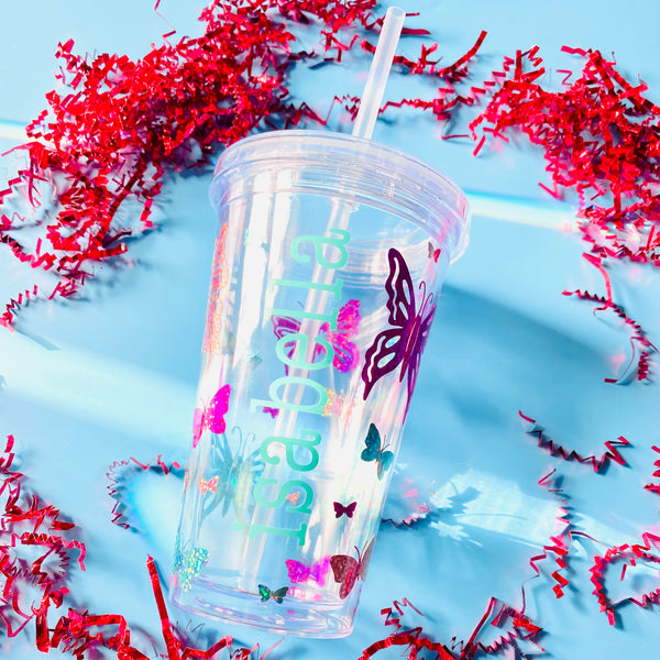 Sparkle Butterfly Double Walled Water Tumbler