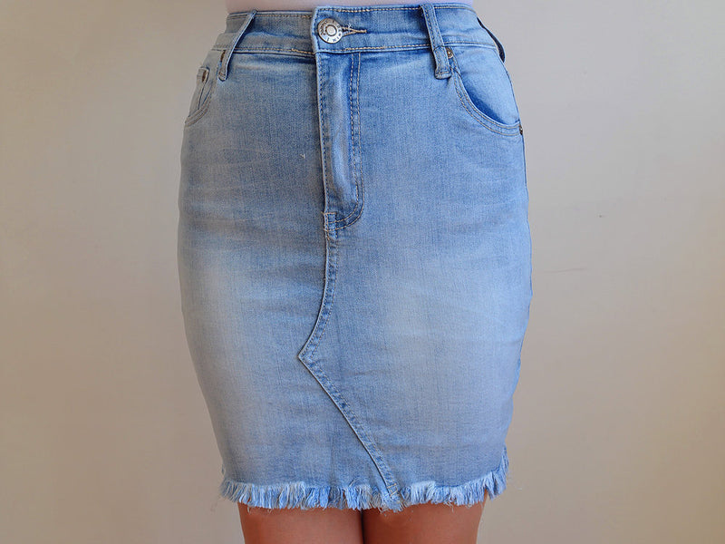 DENIM ~ Light Washed Stretch Skirt