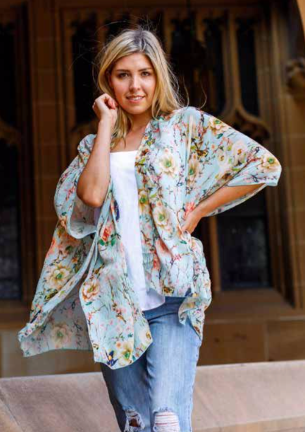 THROWS ~ Boho Short Floral Green Cape / Kimono