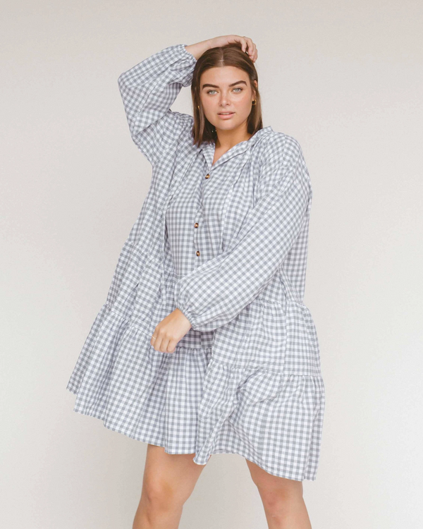 Lullaby Club ~ Avalon Smock Dress // Blue Gingham
