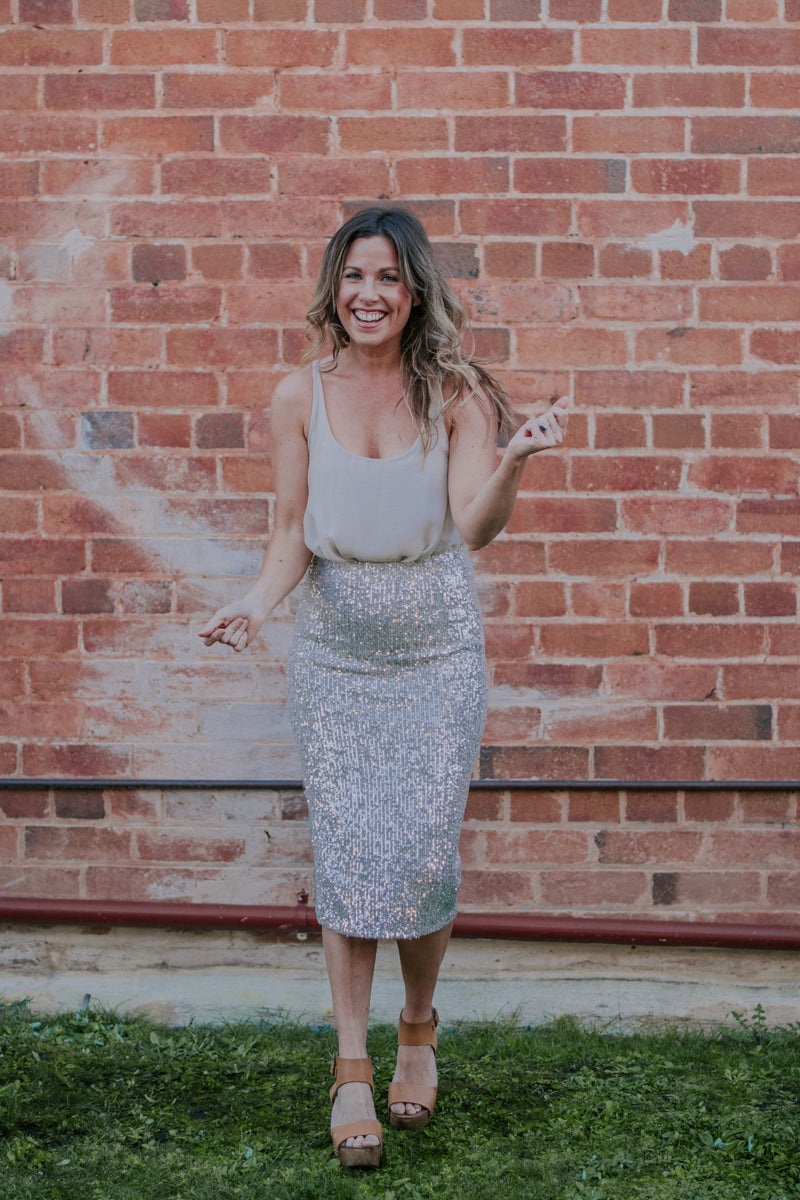 Italian Closet ~ Valeria Sequin Midi Skirt in Champagne