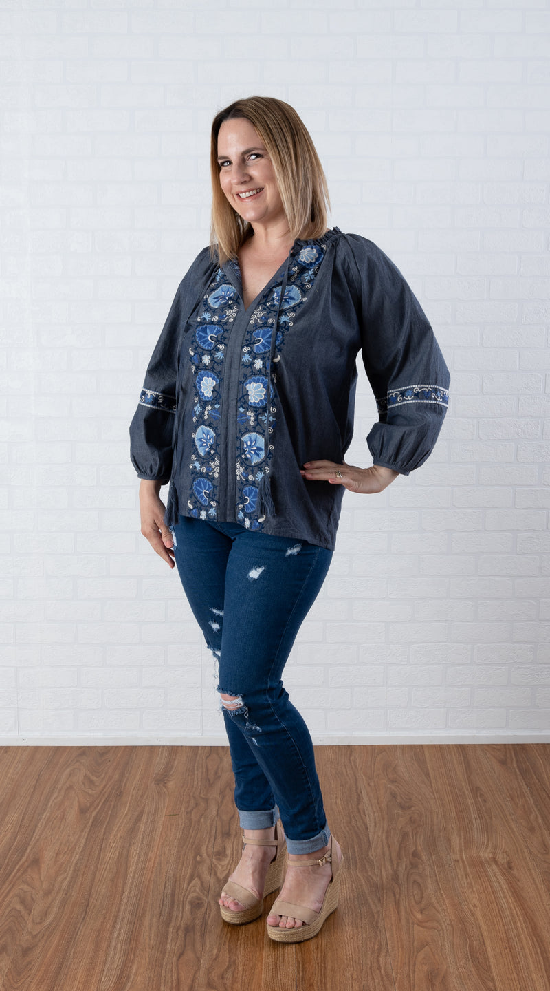 Miss June ~ Denim Embroidery in blues