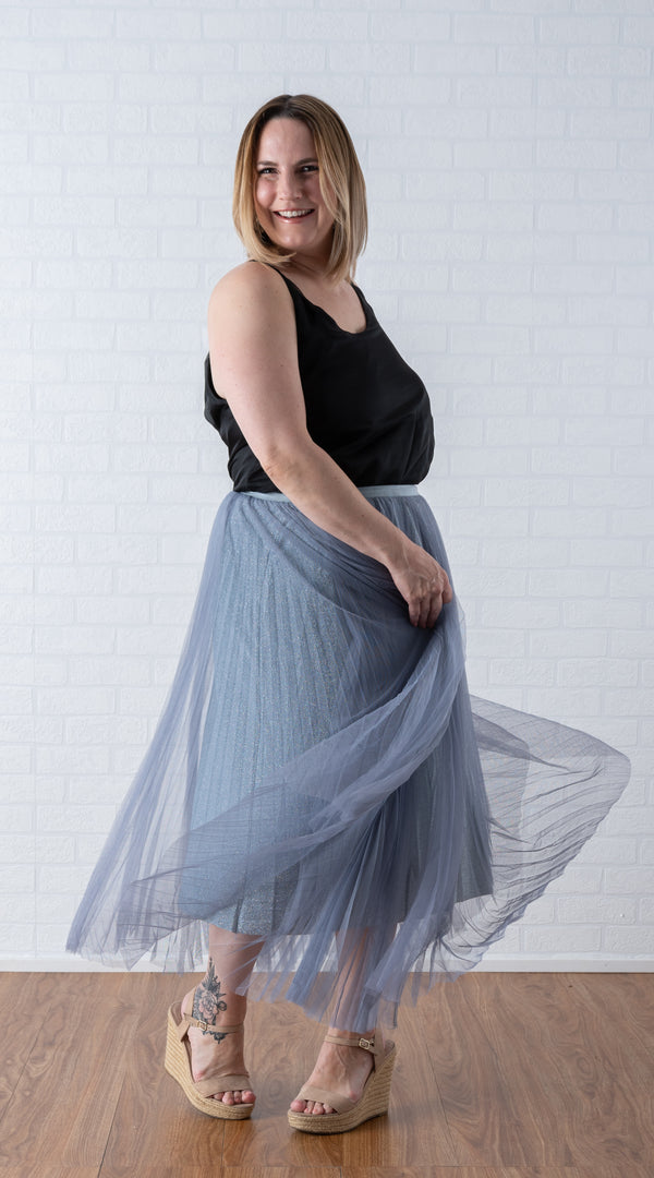 KelK. Pleated Bling Tulle Skirt