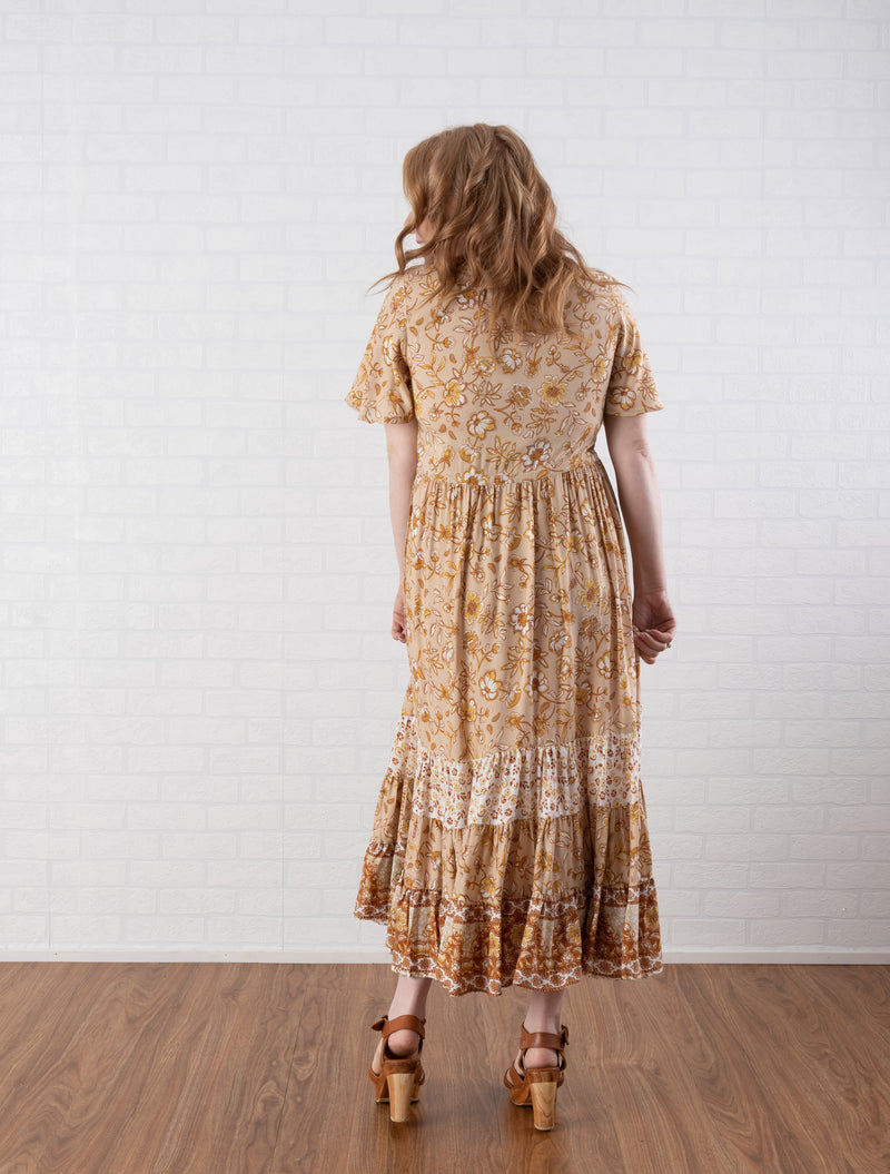 Leah Midi Dress in golden sunset