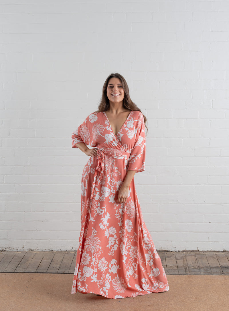 House of Lacuna ~ Wrap Dress in Apricot Floral Print