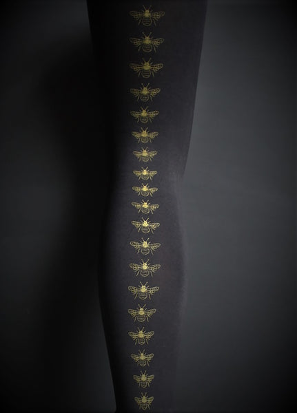 Mustard Bee Print Black Footless Tights | 80 Denier