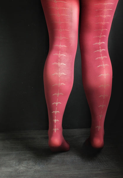 Metallic Flying Duck Print Burgundy Tights | 80 denier