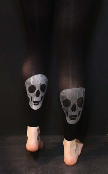 hose. | Single Silver Skull Print Black Footless Tights | 80 Denier