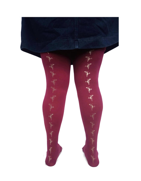 Metallic Woodpecker Print Burgundy Tights | 80 denier