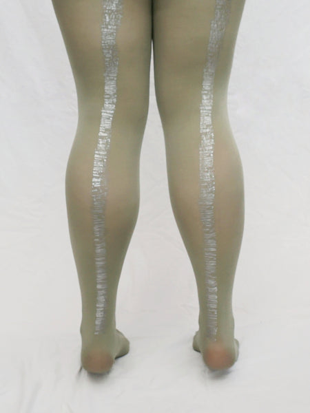 Sage Bookstack | Hand Printed Tights