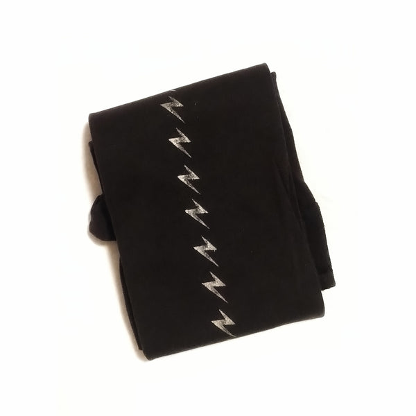 Metallic Lightning Bolt Print Black Tights | 80 Denier