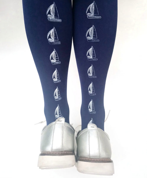 Tights & Hosiery for Women | Navy Sailboat Tights | Free UK Delivery
