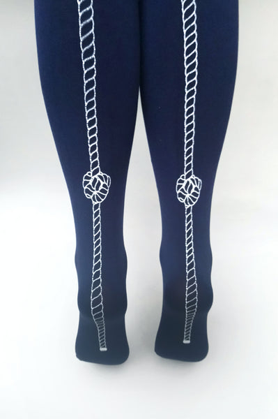 Navy Rope Tights | 100 Denier