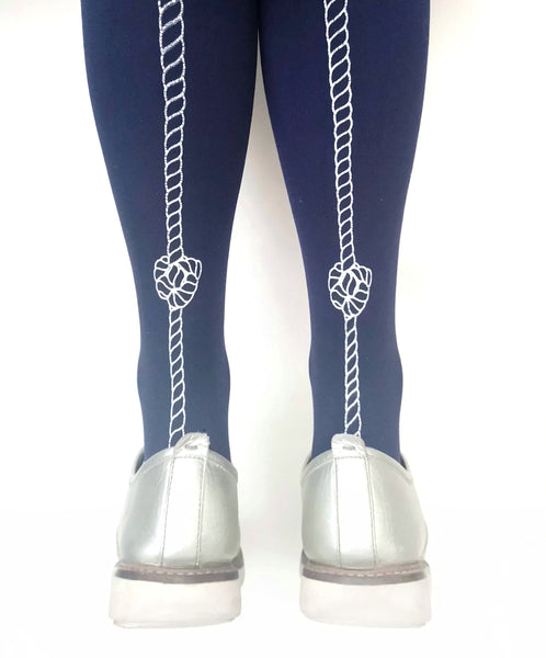 Tights & Hosiery for Women | Navy Rope Tights | Free UK Delivery