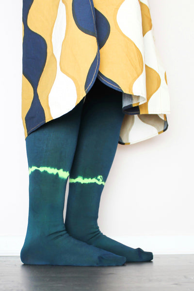 Navy//Neon | Hand Dyed Tights | Limited Edition | 100 Denier |