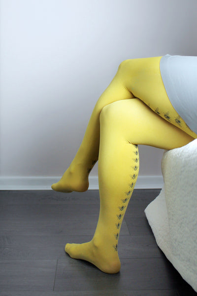 XL | XXL | Mustard Bee Tights | 100 Denier
