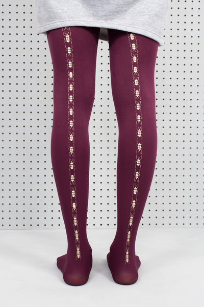 Plum Scarab Beetle Tights