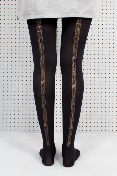 Black Woodgrain Tights