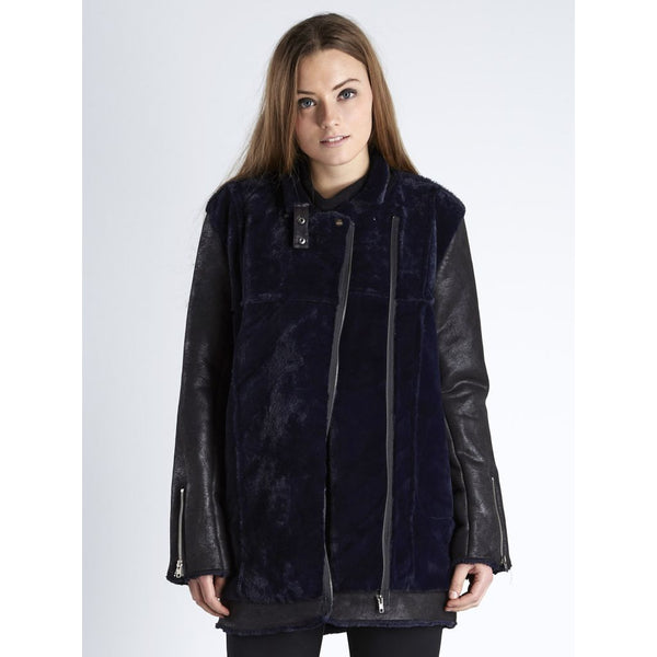 Vegan Shearling Car Coat | Navy & Black