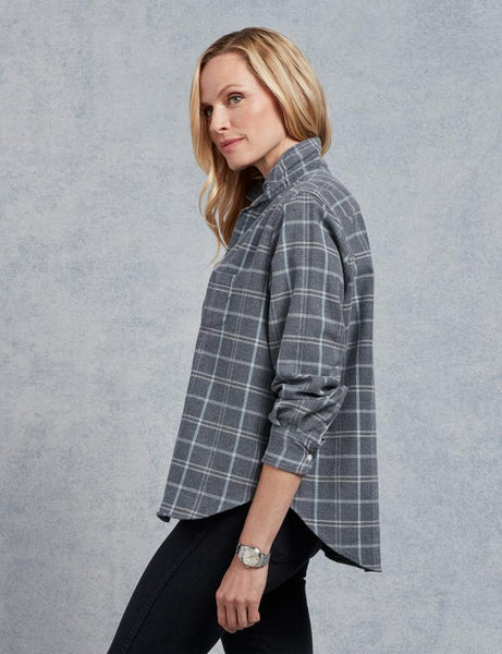 Eileen Heavy Polar Flannel Button Down | Grey Taupe Plaid