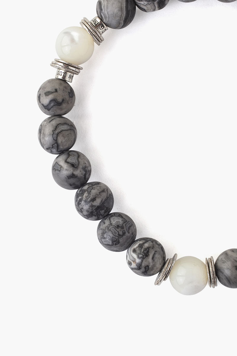 Semiprecious Stone Stretch Bracelet | Grey Mix