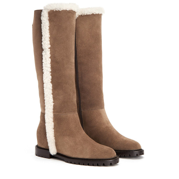 Cheyenne Suede Tall Weatherproof Boot | Taupe Shearling