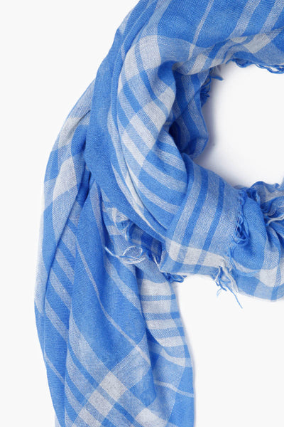 Cashmere & Silk Plaid Scarf | Palace Blue