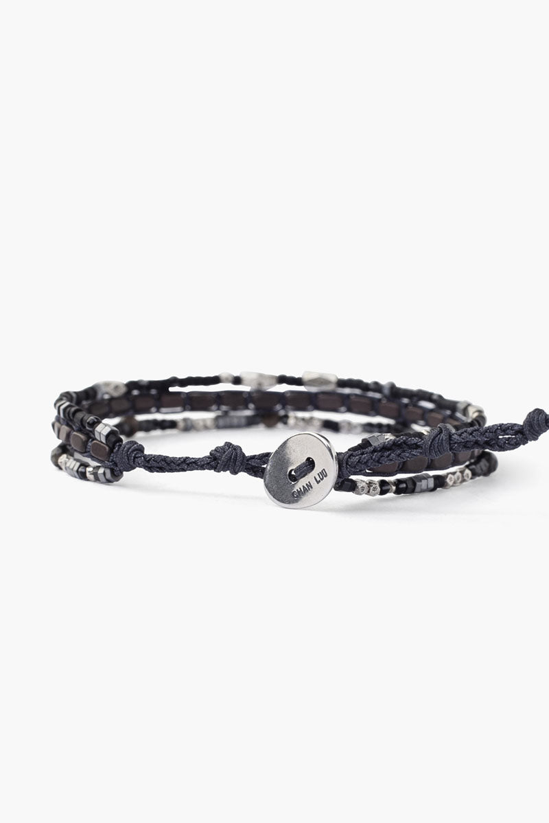 Sterling Silver 6' Layered Bracelet | Black Mix