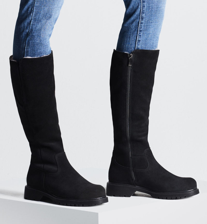 Helene Tall Shearling Boot | Black Suede