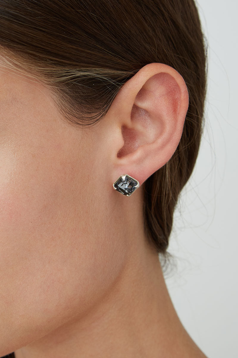 Sterling Silver Crystal Stud | Silver Night
