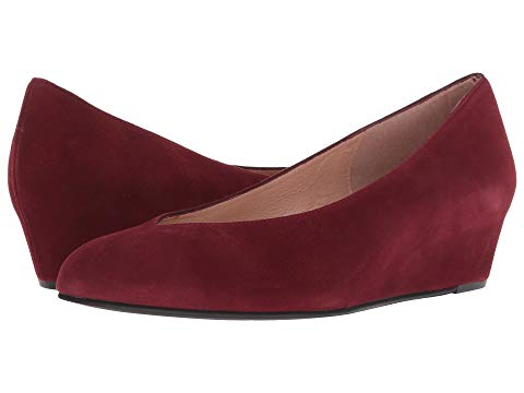 Cubic Suede Wedge | Port Wine