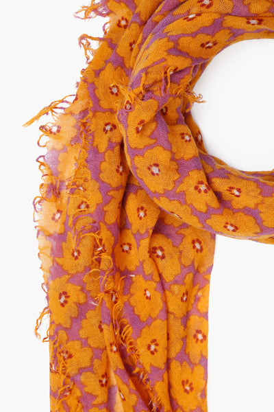 Cashmere & Silk Floral Scarf | Dusty Lavender