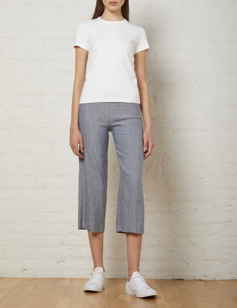 Alex Linen Crop Flare | Light Denim