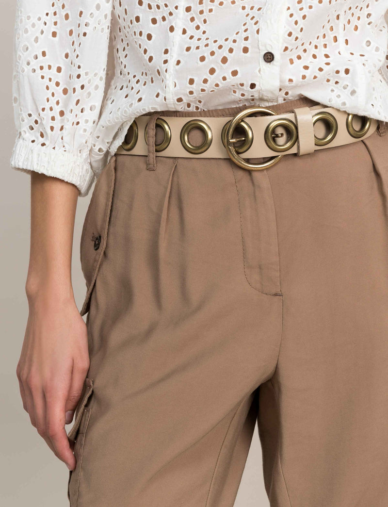 Eyelet Leather Belt | White Sand