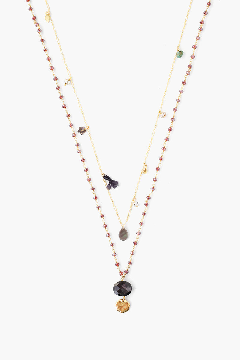 Double Strand Necklace | Gold & Garnet