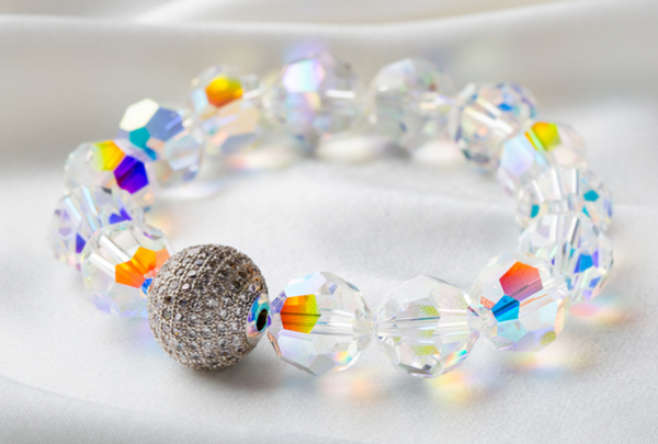Swarovski Stretch Bracelet with Silver Ball