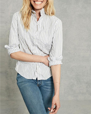 Barry Crinkled Button Down | Blue Yellow & White Stripe