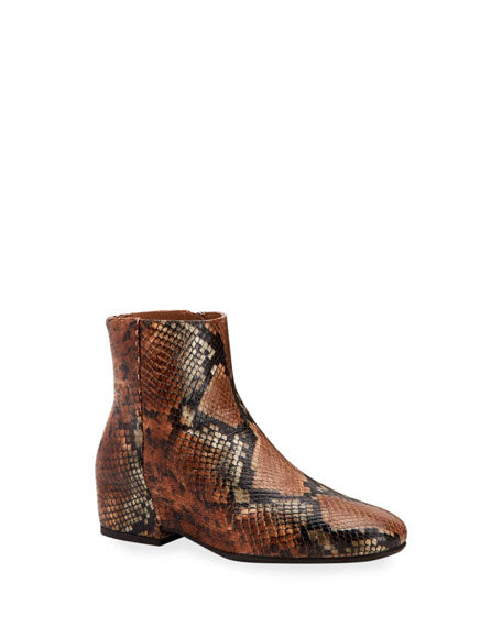 Ulyssaa Snake-Print Leather Booties