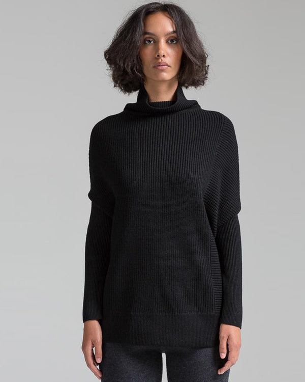 Rib Knit Turtleneck Pullover | Black