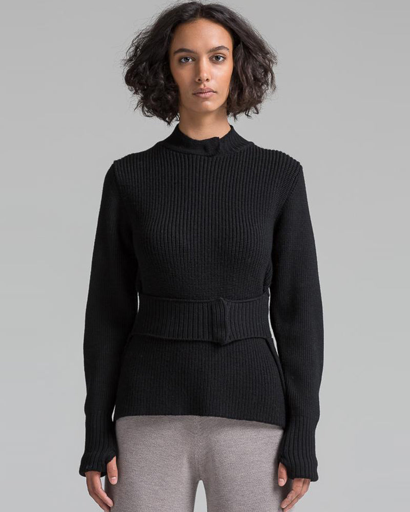 Knit Belt Pullover | Black