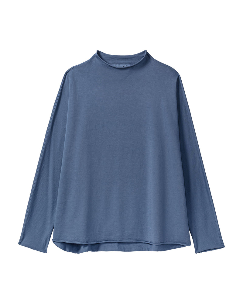 Long Sleeve Funnel Neck Tee | Blue Steel