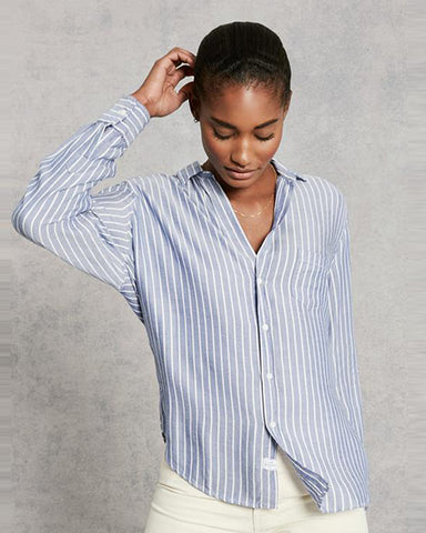 Eileen Modal Button Down Top | Wide Blue Stripe