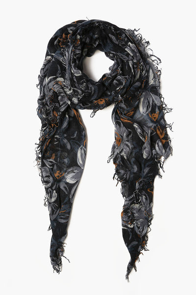 Painterly Floral Cashmere & Silk Scarf | Total Eclipse