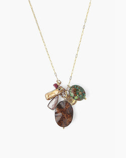 Bronzite Mix Charm Necklace