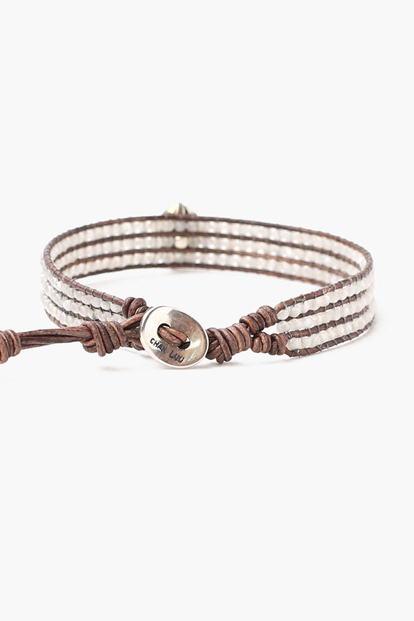 Semi Precious Stone Single Wrap Bracelet | Grey Mix