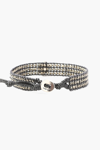 Semi Precious Stone Single Wrap Bracelet | Hematite